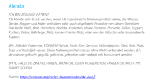 Tarjeta sin gluten en Alemán