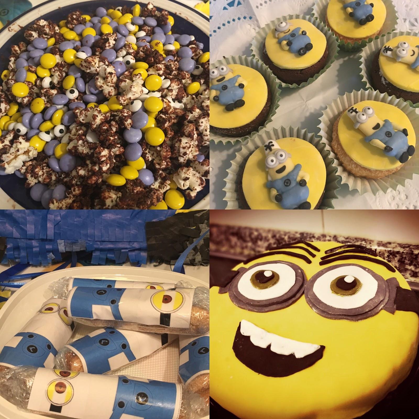 pastel y otros elementos