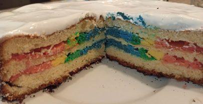 Pastel arco iris sin gluten