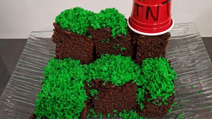 Pastel Minecraft sin gluten en 5 minutos