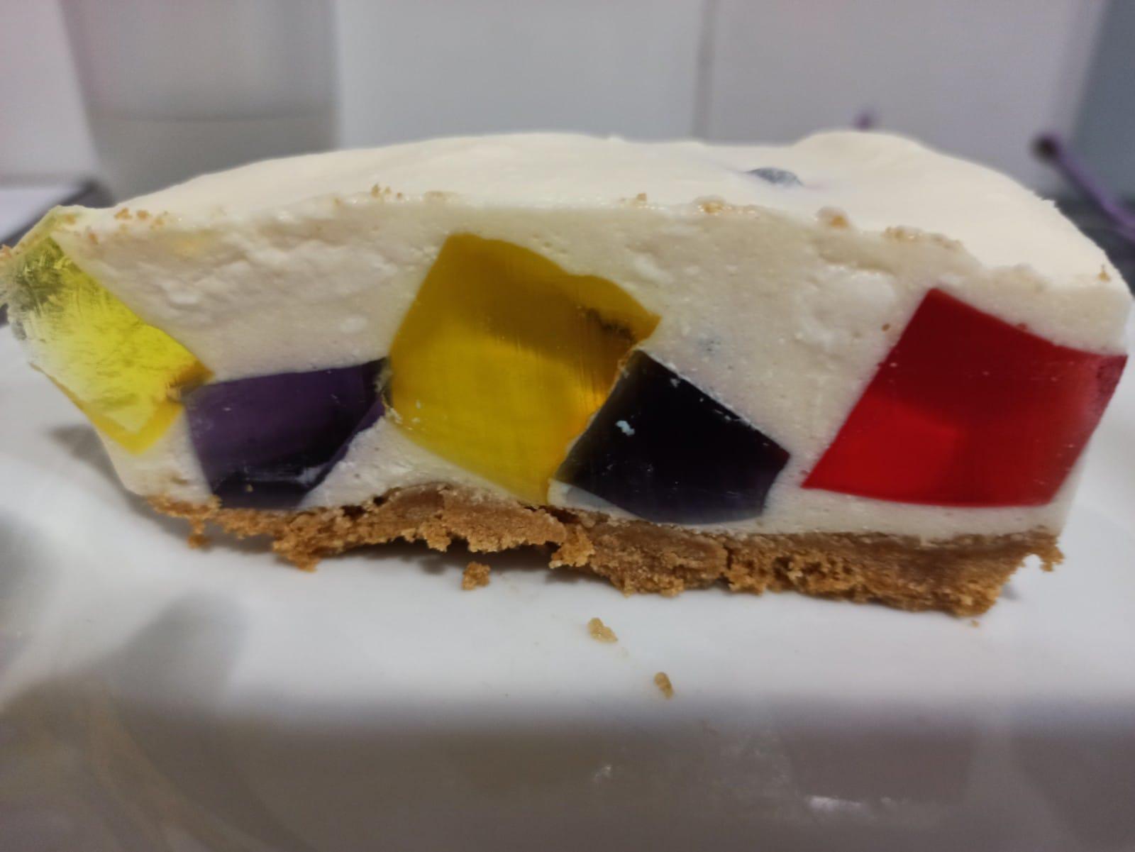 Pastel de gelatina de mosaico sin gluten